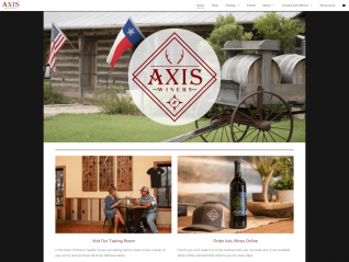 Axis Winery Homepage Screenshot